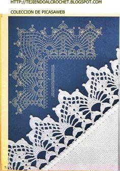 Crochet Edgings Design Knitting And Beading Wedding Bridal Accessories and Free pattern: Crochet Edges Patterns Crochet Boarders, Crochet Edging Patterns, Crochet Lace Edging, Crochet Motifs, Crochet Diagram, Crochet Chart, Thread Crochet, Filet Crochet, Irish Crochet