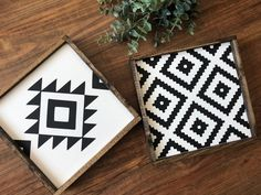 Choose which Aztec print sign you would like, or purchase both. These little mini Aztec patterned signs are perfect for any home decor. Add to a gallery wall, hang by themselves or display on a shelf. No hanging hardware needed, these can be hung on Rustic Wall Art, Rustic Walls, Wood Art, Wood Wood, Painted Wood, Diy Wood, Carved Wood, Rustic Farmhouse Decor, Modern Farmhouse