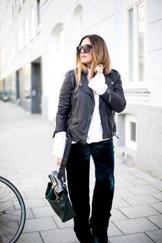 Sandra of black palms trumpet sleeves edited tigha leather jacket velvet streetstyle