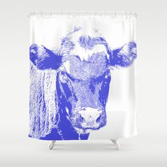 A personal favorite from my Etsy shop https://www.etsy.com/listing/233276243/blue-cow-shower-curtain-white-animal