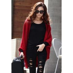 Stylish Style Cardigans Dolman Sleeves Design Women's Sweater, RED, ONE SIZE in Sweaters & Cardigans | DressLily.com