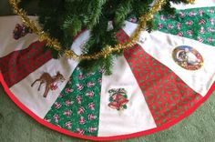 Quilted Tree-Skirt divide & mark qtrs, mark 3 circle fr tip & cut, cut segments, sew together Xmas Tree Skirts, Diy Christmas Tree Skirt, Christmas Tree Skirts Patterns, Christmas Tree Decorations, Christmas Fun, Christmas Ornaments, Christmas Sewing Projects, Diy Projects, Advanced Embroidery