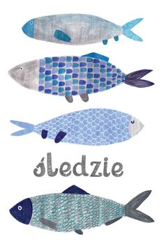 Fish: animals on Behance. Sea Illustration, Food Illustrations, People Illustration, Kids Room Art, Art For Kids, Deco Marine, Watercolor Paintings For Beginners, Sea Crafts, Ceramic Fish