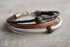 Cordoba  womens braided leather bracelet / summer trends / boho jewelry / Bordeaux Brown Rose // gifts for her I love these colors : a powdery , very delicate pink, a vintage saddle brown and a rich burgundy - brown ... I have used three high quality leather cords and an antique bronze brass closure. Flat leather cord 5x2 mm, a soft nappa leather 2 mm, and a braided leather cord 3 mm diameter).  The combination is completed by two wonderful brass beads…