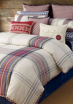 The perfect winter lodge cabin addition.    Hilfiger Tartan A bold tartan in brilliant blue, red, and yellow brings fresh, all-American flair to your bedroom. - Tommy Hilfiger