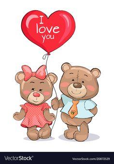I love you heart shape balloon in hands teddy-bear vector image on VectorStock