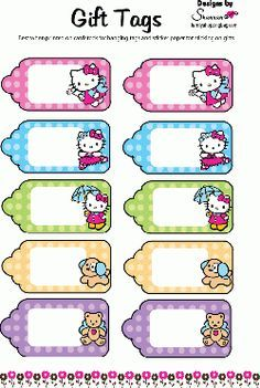 Tags, Hello Kitty, Gift Tags - Free Printable Ideas from Family Shoppingbag.com