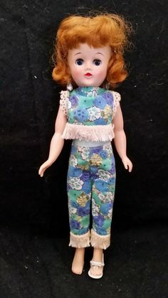 VINTAGE 1959 VOGUE JILL DOLL WITH ORIGINAL OUTFIT EARRINGS 3417 pants and top | eBay