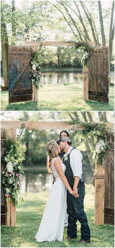 Rustic outdoor wedding ceremony, worn wooden doors, wedding ceremony arbor ideas, white florals, pin to your own wedding inspiration board // Addie Eshelman Photography Rustic Wedding Venues, Rustic Wedding Favors, Rustic Wedding Dresses, Farm Wedding, Wedding Ceremony, Rustic Weddings, Wedding Bells, Dream Wedding, Rustic Bridal Bouquets
