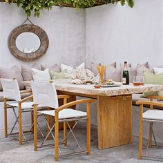 love this kind of table for a patio/deck...with bench seating it would accomodate many for a bbq.