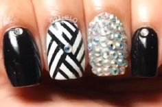 Black & White Nails with Gems