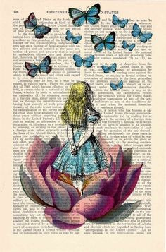 ".alice painted on page from old ""alice in wonderland book"""