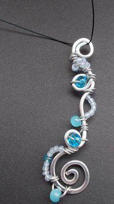 Blauer Glas Perlen Elfenreise Draht Schmuck/  Unikat Fee Handarbeit Silber LARP