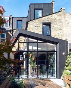 House Extension Design, Extension Designs, House Design, Extension Ideas, Zinc Cladding, Exterior Cladding, Oak Parquet Flooring, Two Bedroom House, Spanish Architecture