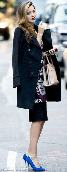 #street #style / Miranda Kerr blue color pop