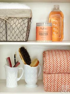 Rethink your bathroom or kitchen closet with these smart organization ideas.