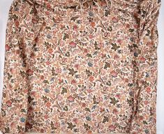Printed cotton with white background with all-over polychrome floral print, closely-spaced serpentines with ornamented flowers and foliage; (a) short waisted bodice, l … 18th Century Fashion, 19th Century, Century Textiles, Hair Ornaments, Museum Of Fine Arts, Fabric Samples, Textile Design, Printed Cotton, Printing On Fabric