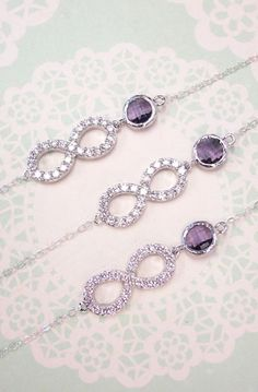 Crystal Infinity Bracelet with Amethyst Glass Bracelet