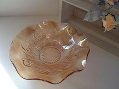 Iris and Herringbone iridescent glass bowl, Jeannette mid-century serving candy dish.