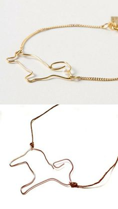 DIY Anthropologie Knockoff Dackel Necklace Tutorial from Crap at Crafts here. Top Photo: $168 Anthropologie Dackel Silhouette Bracelet here, Bottom Photo: DIY by Crap at Crafts. The Antrhopologie wire dog as a pearl eye - really easy to add one on. First seen at Lana Red here. *For lots of wire work jewelry, basic wire techniques, DIYs, etc… go here: truebluemeandyou.tumblr.com/tagged/wire
