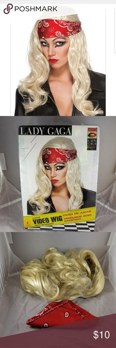 Lady Gaga Judas Blonde wig and bandana (New!) This officially licensed Lady Gaga Judas video wig has never been worn. It was opened but only to figure out or it would work for another costume.  Blonde long wig is great for costumes as Barbie doll, celebrity, playboy bunny (how timely), or Lady Gaga.  Made by Rubies   10% Price drop for Halloween! I can get this in the mail tomorrow or earlier! rubies Accessories Hair Accessories
