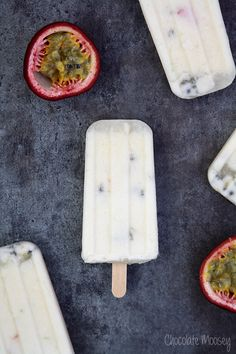 Passion fruit and coconut milk popsicles.