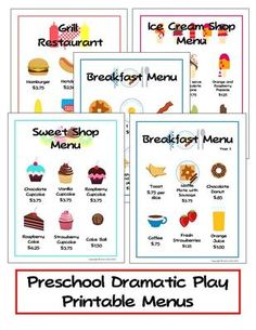 6 Best Images of Free Printable Play Menus - Free Printable Preschool Dramatic Play Menu, Printable Pretend Play Restaurant Menus and Kids Play Restaurant Printable Menu Dramatic Play Themes, Dramatic Play Area, Dramatic Play Centers, Menu Restaurant, Restaurant Themes, Preschool Printables, Preschool Activities, Preschool Restaurant, Kids Restaurants