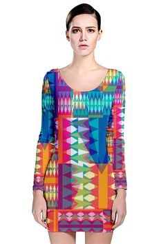 """Adorable pattern in this Long Sleeve Bodycon Dress design, called """"Triangle Quilt"""", by #Miranda Mol"""