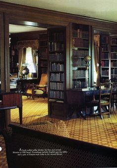 Dark Woods = Da Bomb dot Com when it comes to decor. Just sayin'. Stair Shelves, Bookshelves, Interior Design Books, Interior Ideas, English Decor, My Dream Home, Architecture Design, House Design, English Library