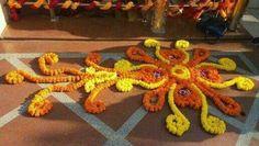 My Flower Rangoli Housewarming Decorations, Diwali Decorations, Festival Decorations, Flower Decorations, House Decorations, Wedding Decorations, Rangoli Patterns, Rangoli Ideas, Diwali Craft