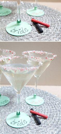 DIY | chalkboard martini glasses » Something Turquoise {daily bridal inspiration}