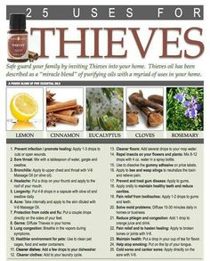 Thieves Oil-25 uses for thieves oil Contact me T if you want to get any To order https://www.youngliving.com/signup/?sponsorid=1447382&enrollerid=1447382 More
