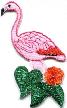 New pink flamingo iron-on patch. Ideal for adorning your jeans, bags, jackets and shirts. Measures 2 inches wide by 4 inches tall. Iron-On Instr