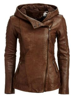 brown leather jacket hooded side zipper