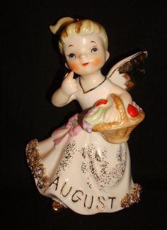 Vintage 1957 Geo Z Lefton #1987J August Rhinestone Birthday Month Angel Figurine