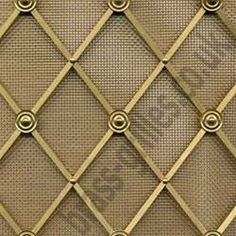 "For JWH: I like this exact grille but in POLISHED NICKEL. I like the ""plain"" detail buttons every other row. Brass Grilles UK is the dedicated decorative grilles website for Coverscreen UK, radiator cover and bespoke furniture manufacturers. Mesh Door, Brass, Bronze, Glass Kitchen Cabinet Doors, Metal Decor, Metal Grill, Glass Kitchen Cabinets, Metal Mesh, Metal Screen Doors"