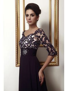 Sheath / Column Strapless Lace Long Sleeves Floor-length Chiffon ...