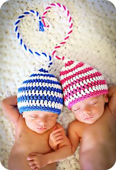 Newborn Photo Prop Boy Girl Twin Hats by MitziKnitz on Etsy, $46.00