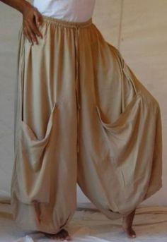 Lagenlook Wide Leg Pants with Drape Pockets Neutrals Taupe, Drip Dry, Gaucho, Fit S, Wide Leg Pants, Hemline, Harem Pants, Elegant, Pockets