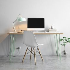 Hairpin Desk & Dining Table - Formica Birch Plywood Top - All Sizes &…