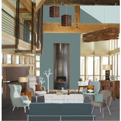 Modern Day Swiss Chalet by rotunda on Polyvore featuring interior, interiors, interior design, home, home decor, interior decorating, Pinch, Fritz Hansen, Universal Lighting and Decor and HAY