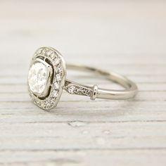Old Cushion Cut .82 Carat Engagement Ring