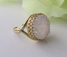 Vintage White Druzy CrystalRing,Snow Sparkling Cocktail Ring, Bridal Jewelry, Drusy Stone Energy Ring- Free Us shipping