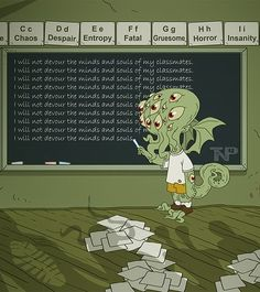 Little Cthulhu's first day at Lovecraft School did not go too well Lovecraft Cthulhu, Hp Lovecraft, Rpg Cyberpunk, Yog Sothoth, Lovecraftian Horror, Call Of Cthulhu, Dark Lord, Old Ones, Geek Out
