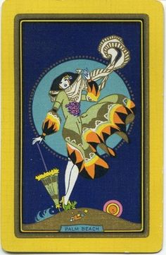 "Swap Playing Card Vintage NN ""Palm Beach"" Stunning Vibrant Art Deco Lady | eBay"