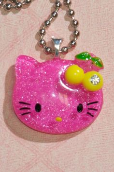 Glitter Hello Kitty Necklace (Hot Pink) $10.00