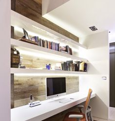 Home Office. Amazing Home Office Design Ideas. Contemporary Home Office With Modern Furniture Decoration Features Hidden… Home Office Space, Home Office Design, Home Office Decor, House Design, Office Ideas, Office Designs, Office Furniture, Office Nook, Desk Space
