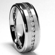 Men's Eternity Titanium Ring Wedding Band