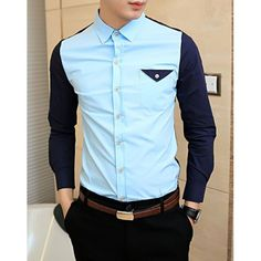 Fashionable Shirt Collar Unique Pocket Color Splicing Long Sleeves Polyester Shirt For Men, BLUE, XL in Shirts | DressLily.com