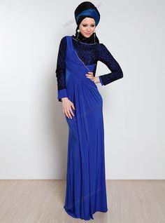 Dantel ve Taş İşlemeli Drapeli Elbise 418 - Saks - Mileny